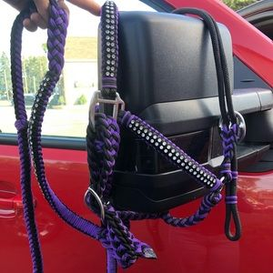 Tough-1 purple and black reins and matching halter